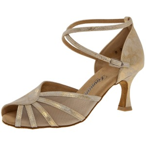 Diamant - Damen Tanzschuhe 020-087-017 - Veloursleder Gold - 6,5 cm Flare [UK 4,5]